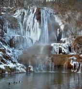 Minerálny vodopád v obci Lúčky na Slovensku