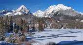 Zamrznuté Štrbské Pleso vo Vysokých Tatrách