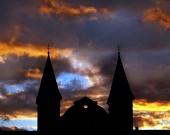 Dramatická červená obloha v Žiline