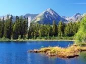 Nové Štrbské Pleso a vrchol Solisko v Tatrách