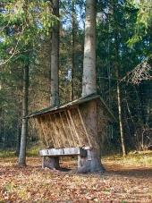 Kŕmidlo pre zvieratá v slovenskom lese