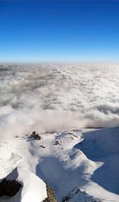Letecký pohľad na Lomnické sedlo vo Vysokých Tatrách
