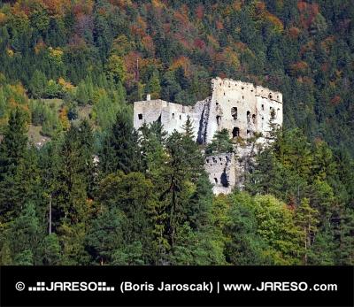 Zrúcanina hradu Likava ukrytá hlboko v lese