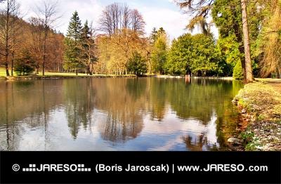 Park a jazierko v jeseni