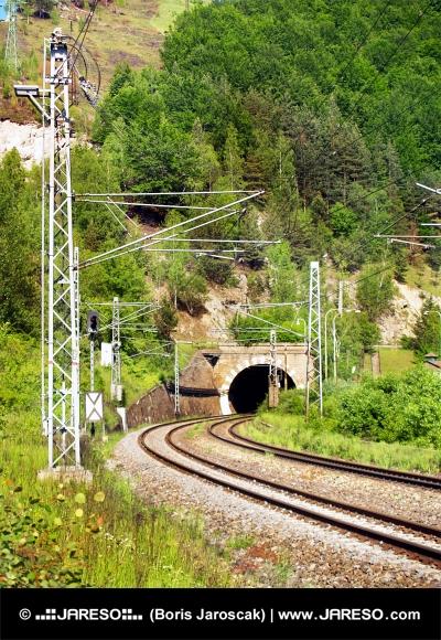 Železničná trať s tunelom pri Šútove