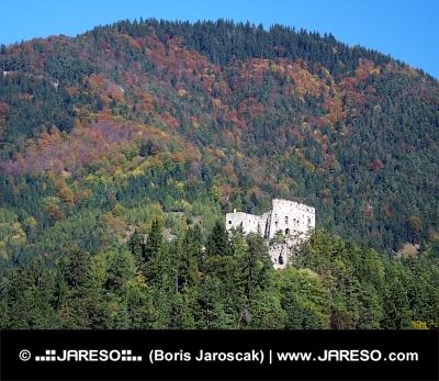 Likavský hrad v hlbokom lese na Slovensku