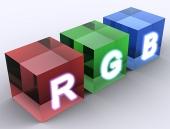 Abstraktné kocky farebného modelu RGB