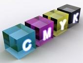Abstraktné kocky farebného modelu CMYK