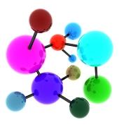 Abstraktná pestrofarebná molekula