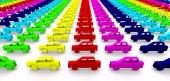 Koncept áut vo farbách dúhy