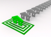 Zelený domček vybraný vo štvorcoch