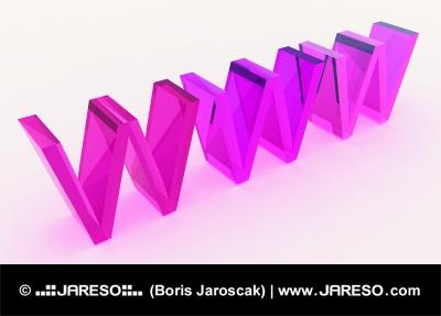 Sklenený 3d WWW text v ružovej farebnej schéme