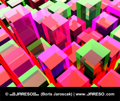 Červené a zelené kubické pozadie