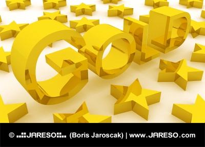 Zlaté (GOLD) písmená a zlaté hviezdy
