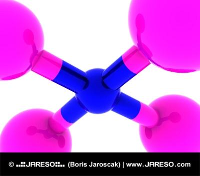 Abstraktné molekuly v ružovej a modrej schéme