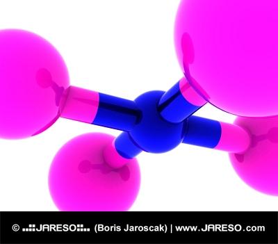Abstraktná molekula v ružovej a modrej farbe