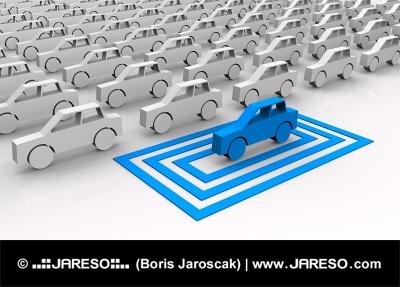 Modré autíčko vybrané vo štvorcoch