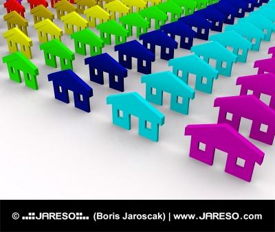 Farebné domčeky zvýraznené výberom