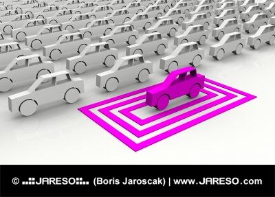 Ružové autíčko zvýraznené symbolickým ohraničením
