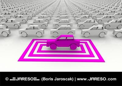 Abstraktné ružové autíčko zvýraznené symbolickým štvorcom