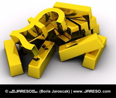 Symbol LIBRY na zlatých tehlách