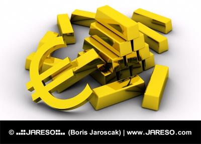 Koncept zlatých tehál spolu so zlatým symbolom eura