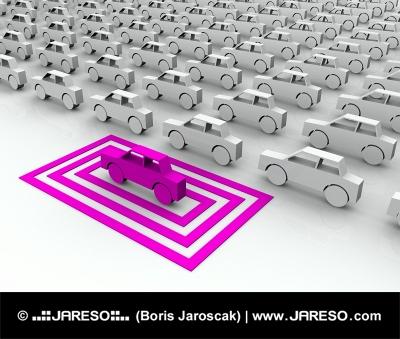 Ružové autíčko zvýraznené vo štvorcoch
