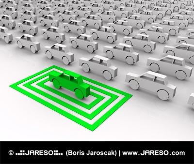 Zelené autíčko zvýraznené vo štvorcoch